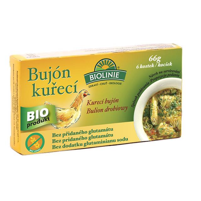 BIOLINIE bujón kuřecí BIO - kostky 6x0,5l