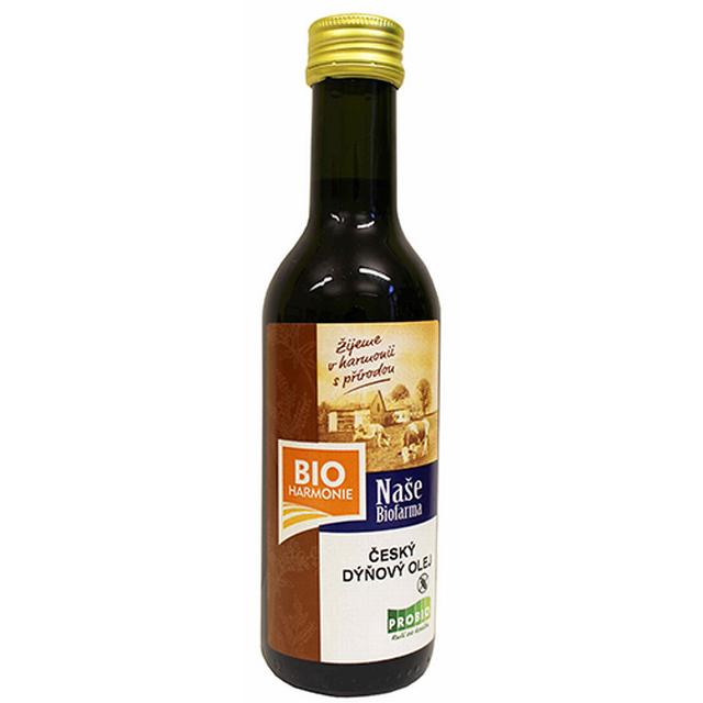 Český dýňový olej NAŠE BIOFARMA lisovaný za studena BIO 180 ml