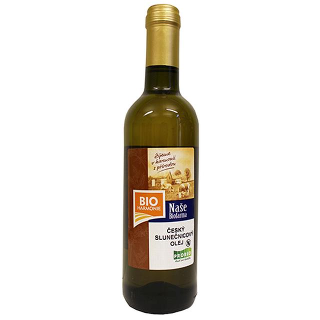 Český slunečnicový olej NAŠE BIOFARMA lisovaný za studena BIO 500 ml