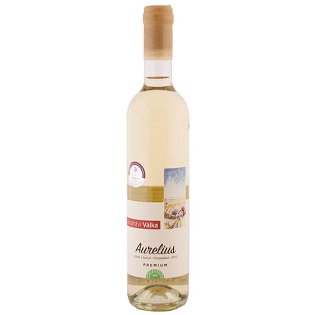 Víno bílé Aurelius  ročník 2015 - výběr z bobulí VINAŘSTVÍ VÁLKA 500ml
