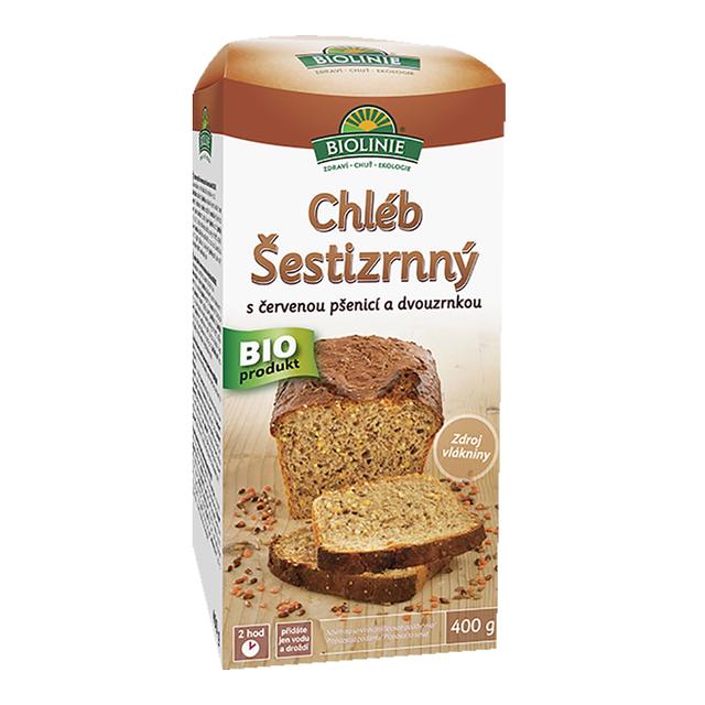 BIOLINIE Chléb šestizrnný s červenou pšenicí a dvouzrnkou (směs na pečení) 400g DO VYPRODÁNÍ ZÁSOB