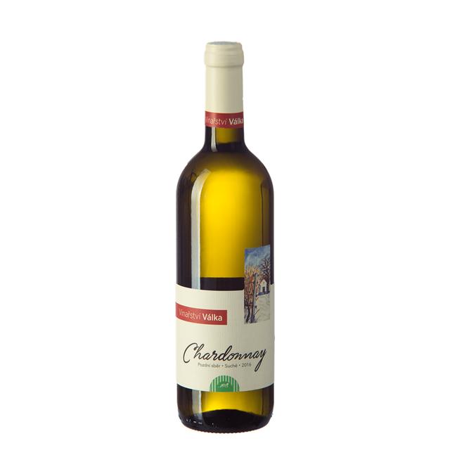 Víno bílé Chardonnay ročník 2016 VINAŘSTVÍ VÁLKA - výběr z hroznů BIO 0,75l (suché)
