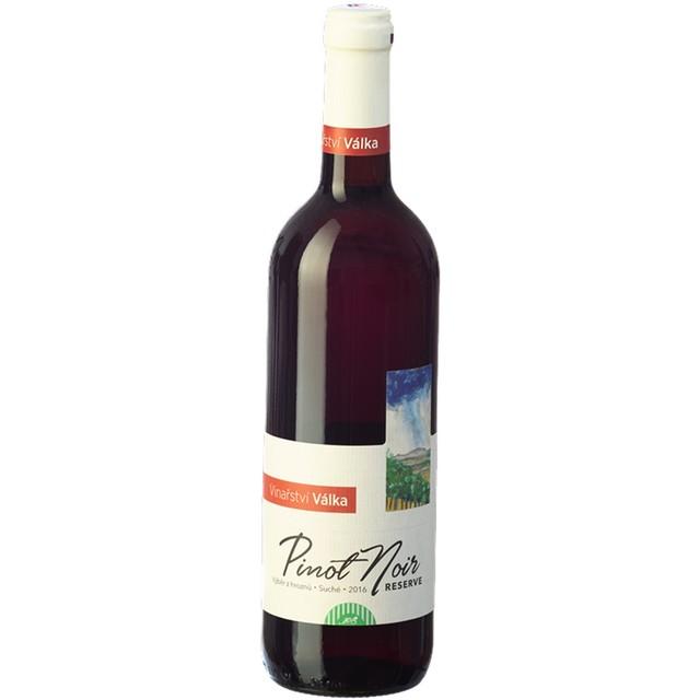 Víno červené Pinot Noir ročník 2016 výběr z hroznů (suché) BIO VÁLKA